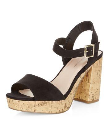 Wide Fit Black Suedette Contrast Flared Heel Sandals