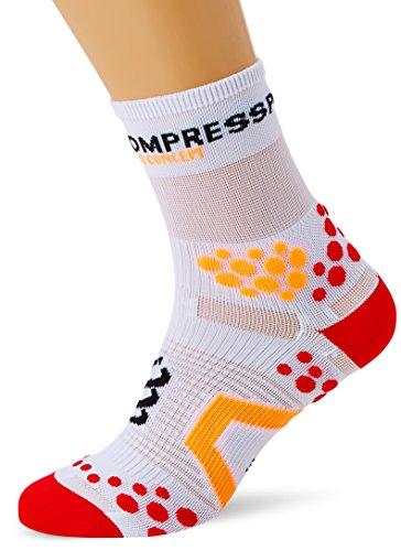 Compressport SHT2BR - Calcetines unisex, color blanco/rojo, talla 45-47