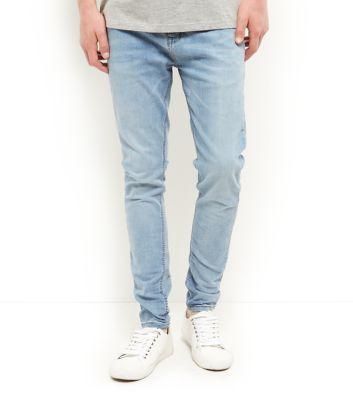 Blue Bleached Super Skinny Jeans
