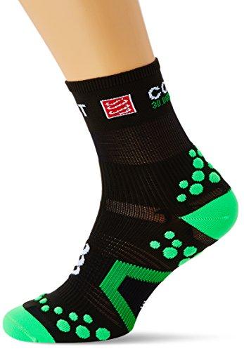 Compressport SHT2BR - Calcetines unisex, color negro/verde, talla 39-41