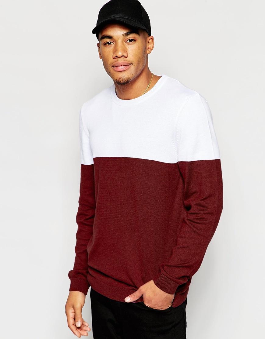 Jersey de algodón con cuello redondo y diseño de colour block de ASOS