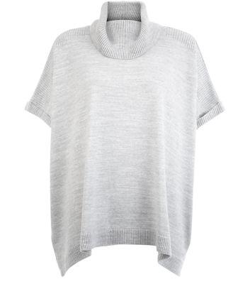 Grey Cowl Neck Short Sleeve Jumper