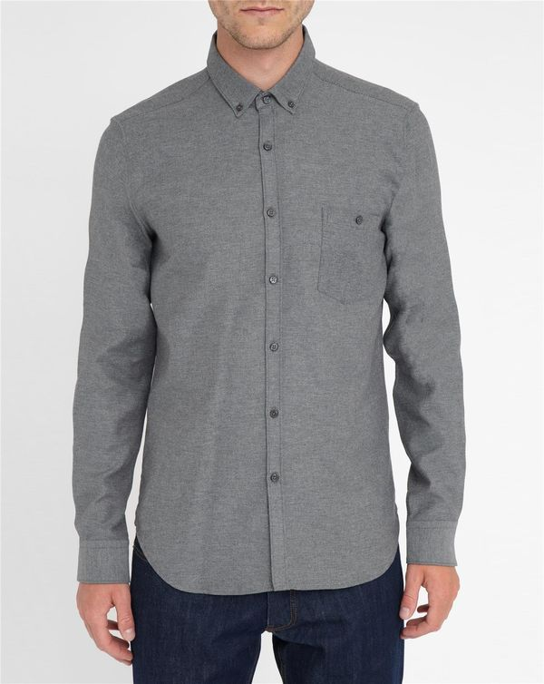 M.STUDIO, Marled-Grey Norman Thick Twill Two-Tone Brushed Cotton Slim-Fit Shirt