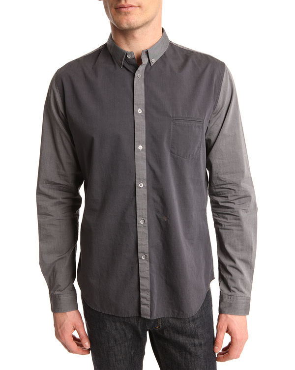 IKKS, Camisa bicolor gris cambray
