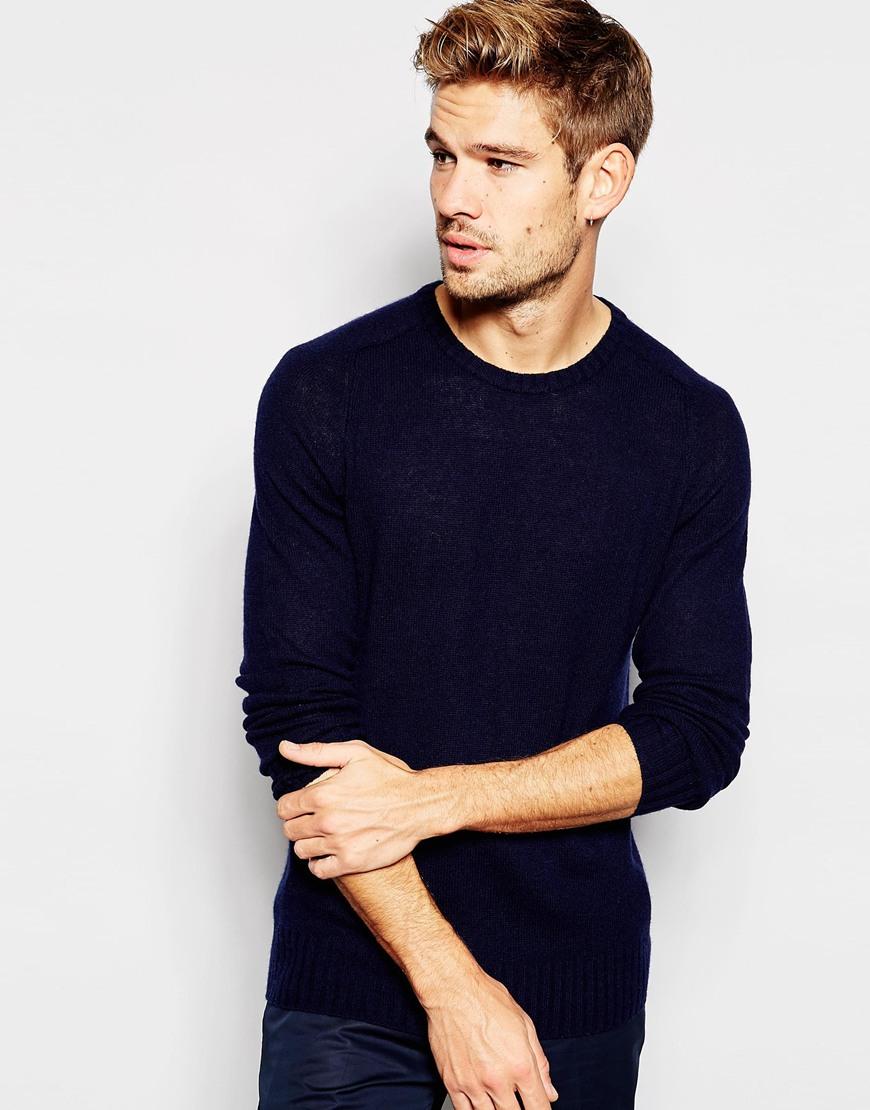 Jersey de lana de cachemir con cuello redondo en azul marino de Esprit