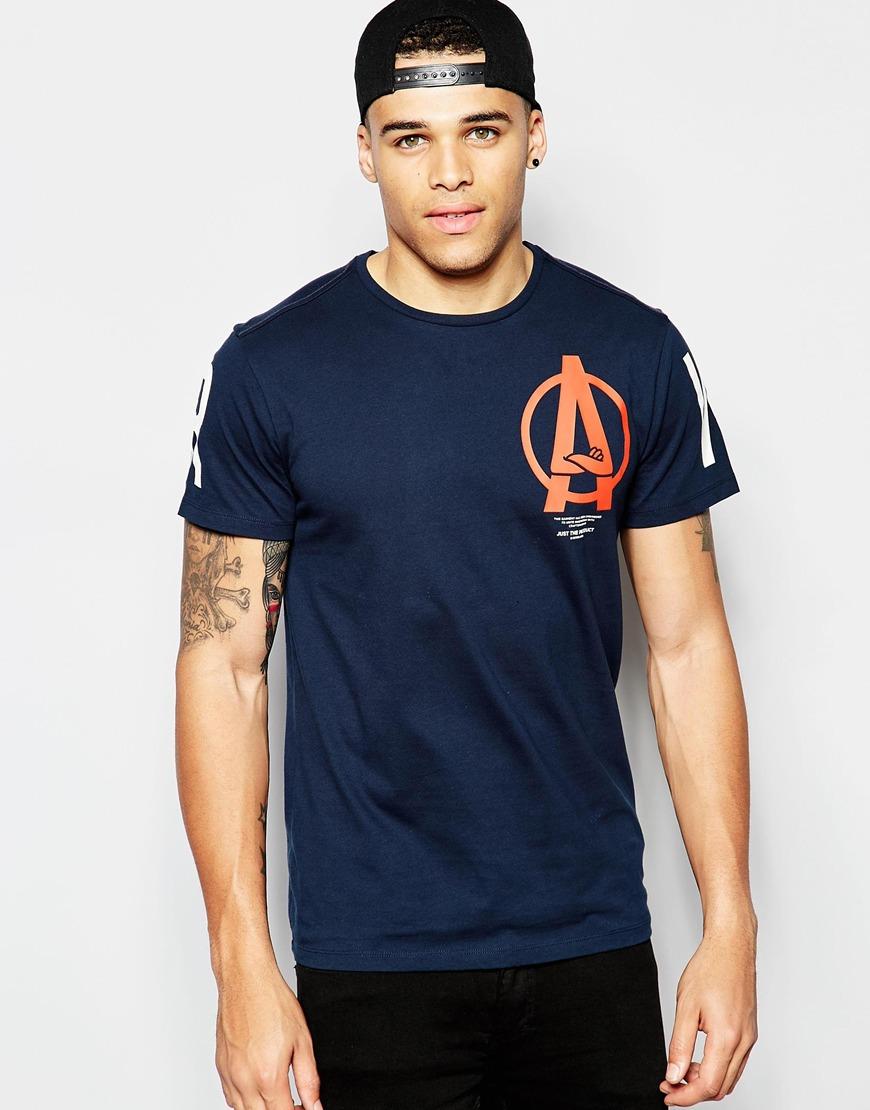 Camiseta azul de cuello redondo con estampado de logo de A Lesheim Saru de G-Star