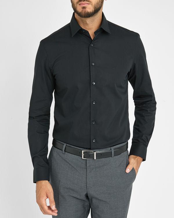 Calvin Klein, Black Chest Logo Stretch Poplin Fitted Shirt