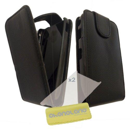 Funda de Piel para Samsung Galaxy S4 Mini (i9195) Color Negro + 2 Protectores
