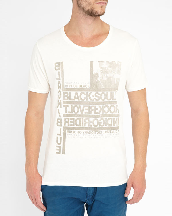 SELECTED, Beige Shsoul Printed Round-Neck T-Shirt