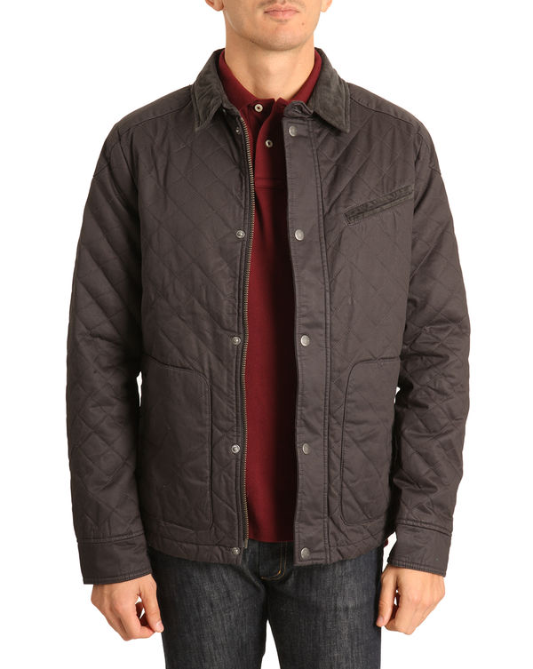 SELECTED, Quilted parka with corduroy collar Luther