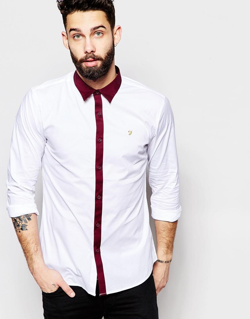 Camisa slim con tapeta en contraste de Farah