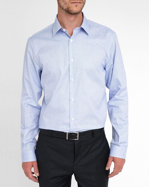 MELINDAGLOSS, White Classic Collar Blue Micro-Pattern Shirt